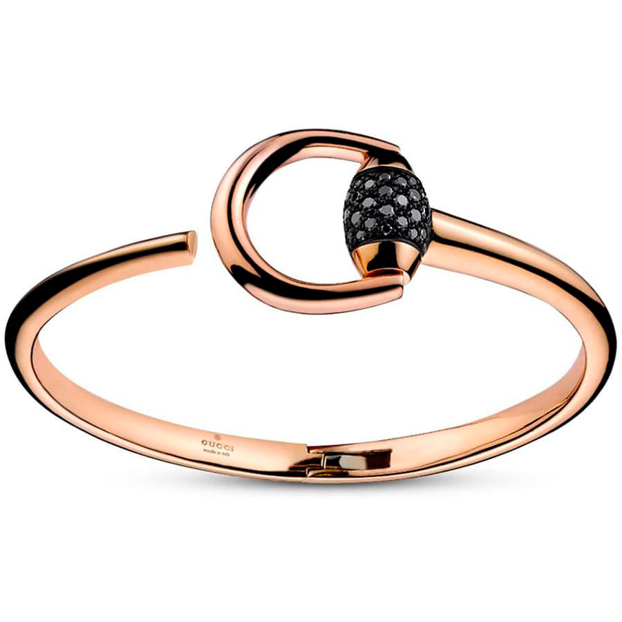 Браслет из розового золота Gucci Horsebit с черными бриллиантами