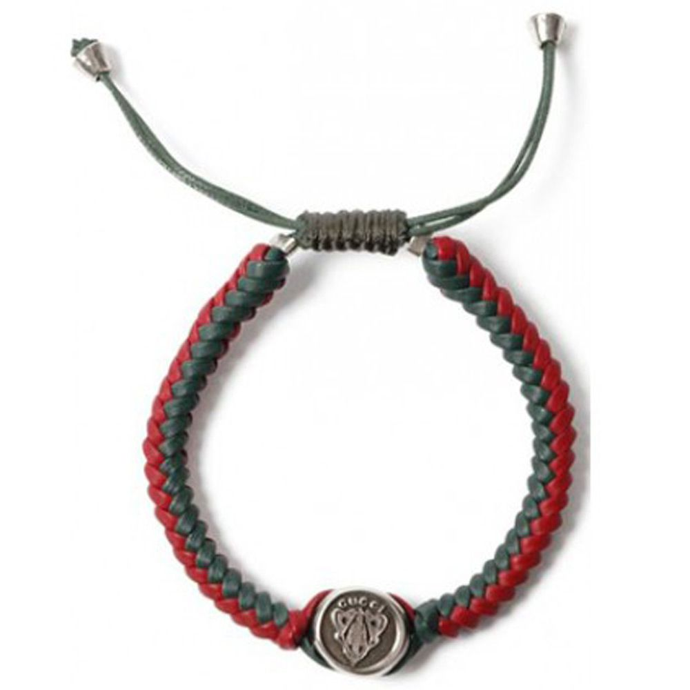 Браслет Gucci из серебра Crest in green and red leather