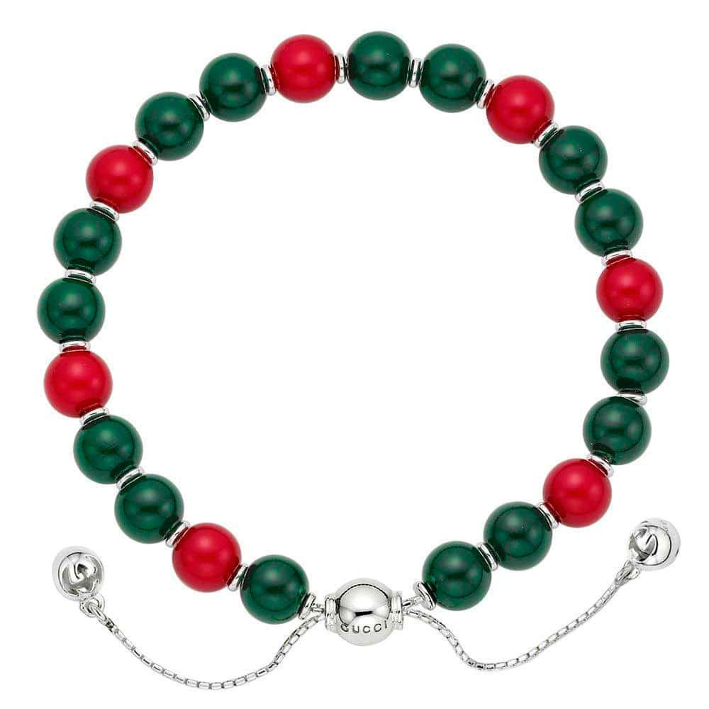Серебряный браслет с красными и зелеными бусинами Gucci Boule Britt