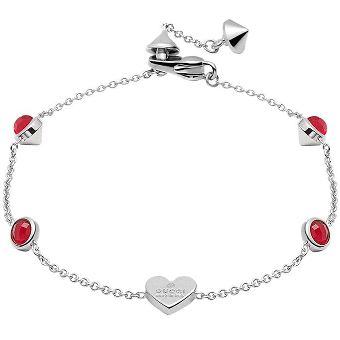 Тонкий браслет-цепочка Gucci Trademark с подвеской-сердцем и круглыми красными кристаллами
