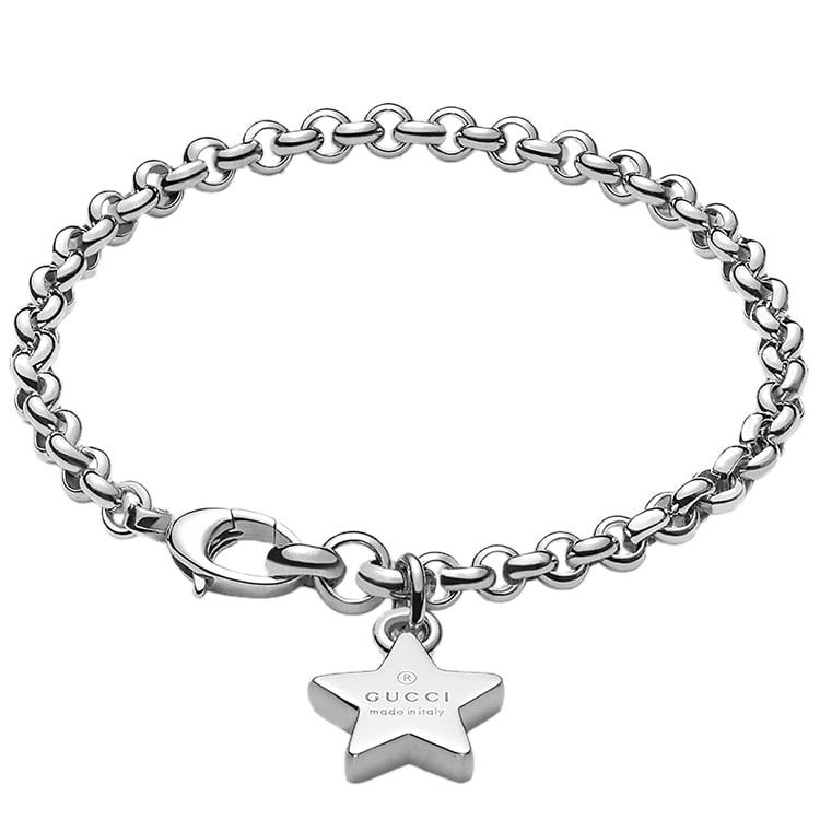 Браслет-цепочка Gucci Trademark из серебра с подвеской-звездой