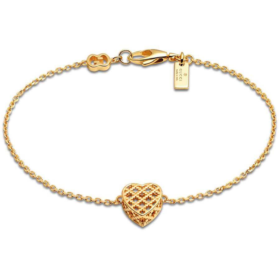 Браслет из желтого золота Gucci Diamantissima с сердцем