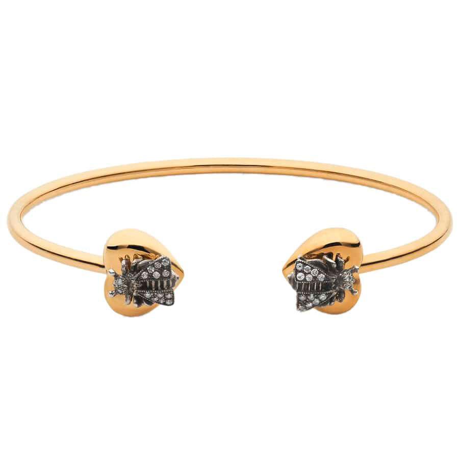 Разомкнутый браслет Gucci Le Marche des Merveilles с сердцами украшенными пчелами