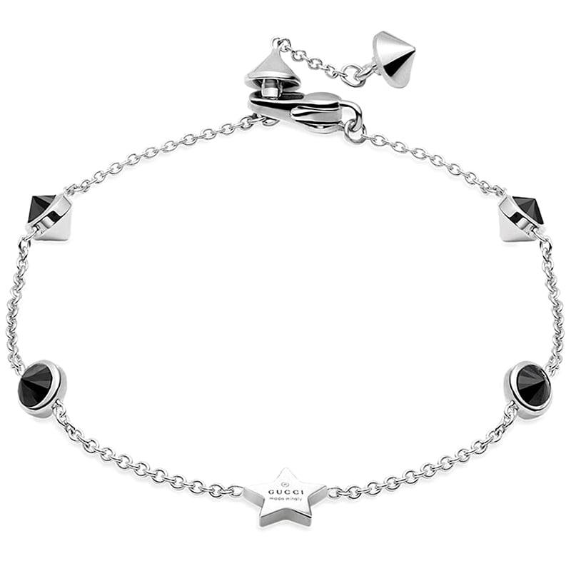 Тонкий браслет-цепочка Gucci Trademark с подвеской в форме звезды и черными камнями