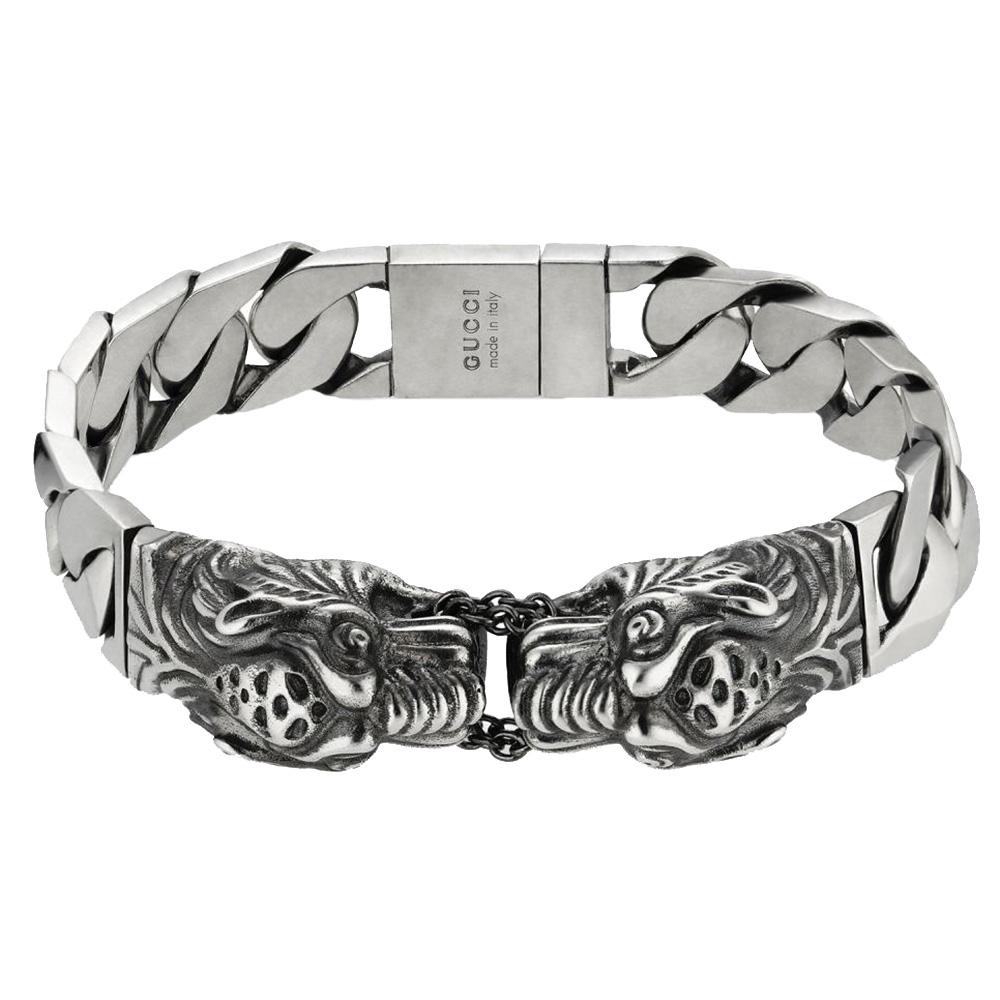 Серебряный браслет Gucci Garden с крупной плоской цепью и гравированными тиграми