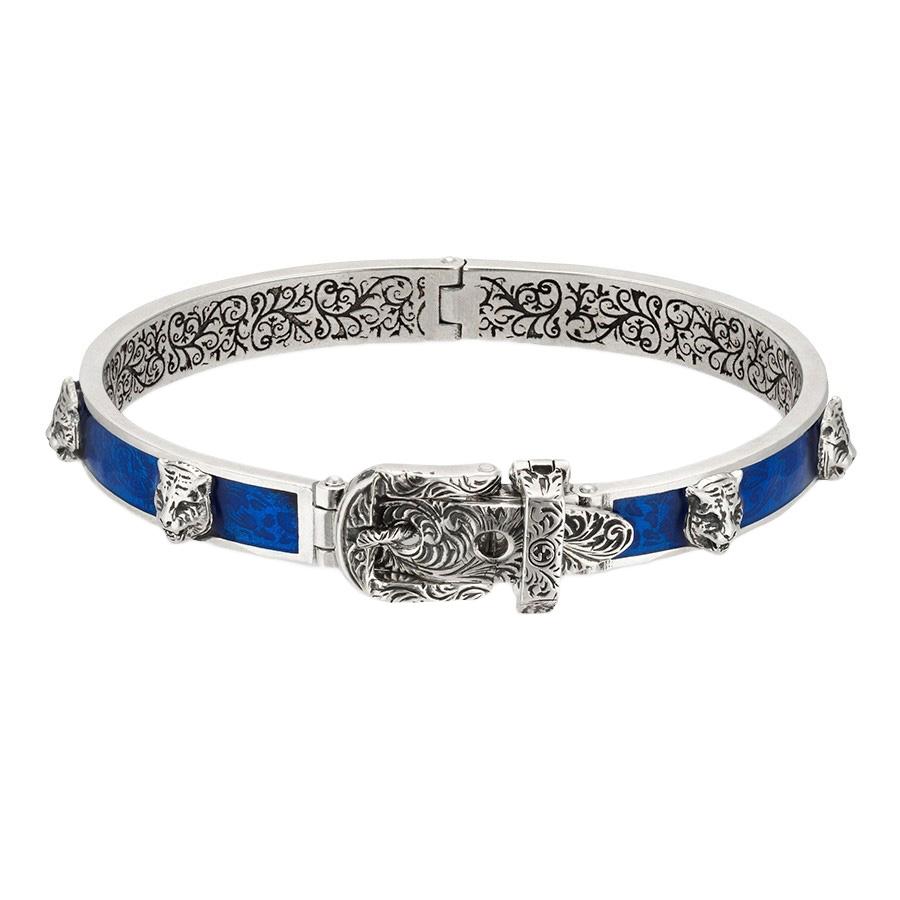 Браслет-пряжка Gucci Garden с синим эмалевым покрытием и деталью-кошачьи головы