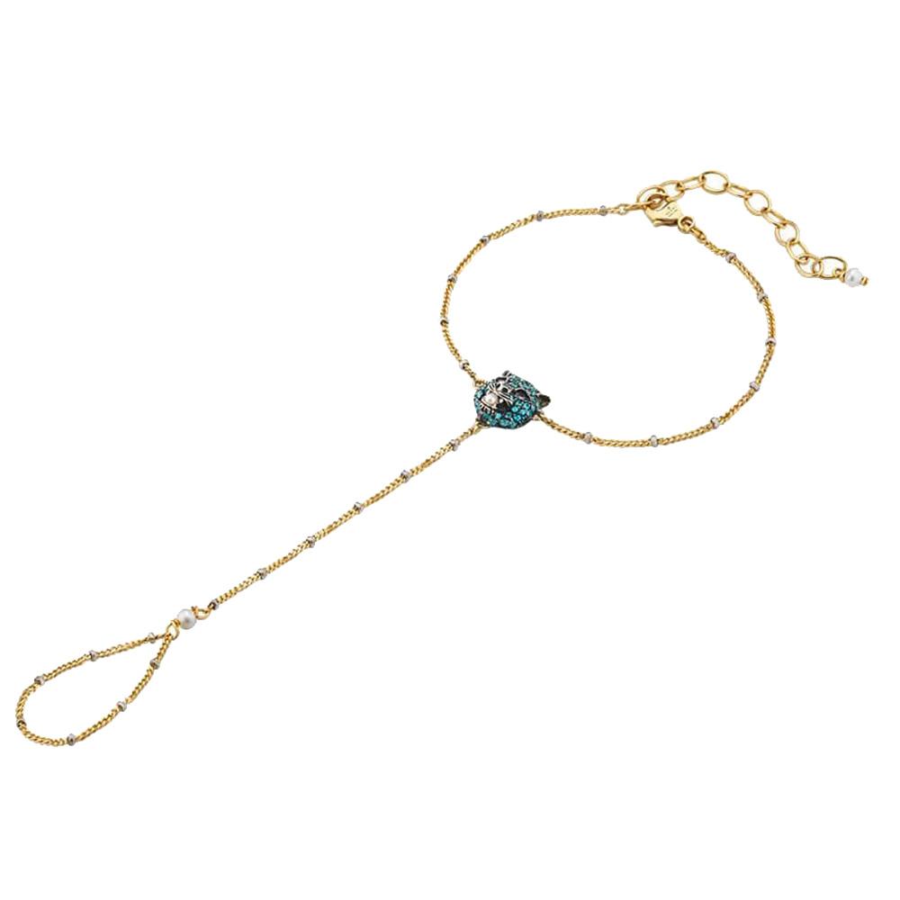 Золотой слейв-браслет Gucci Le Marche des Merveilles с серебряной кошачьей головой