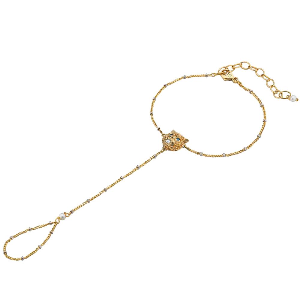 Золотой слейв-браслет Gucci Le Marche des Merveilles с цветными камнями