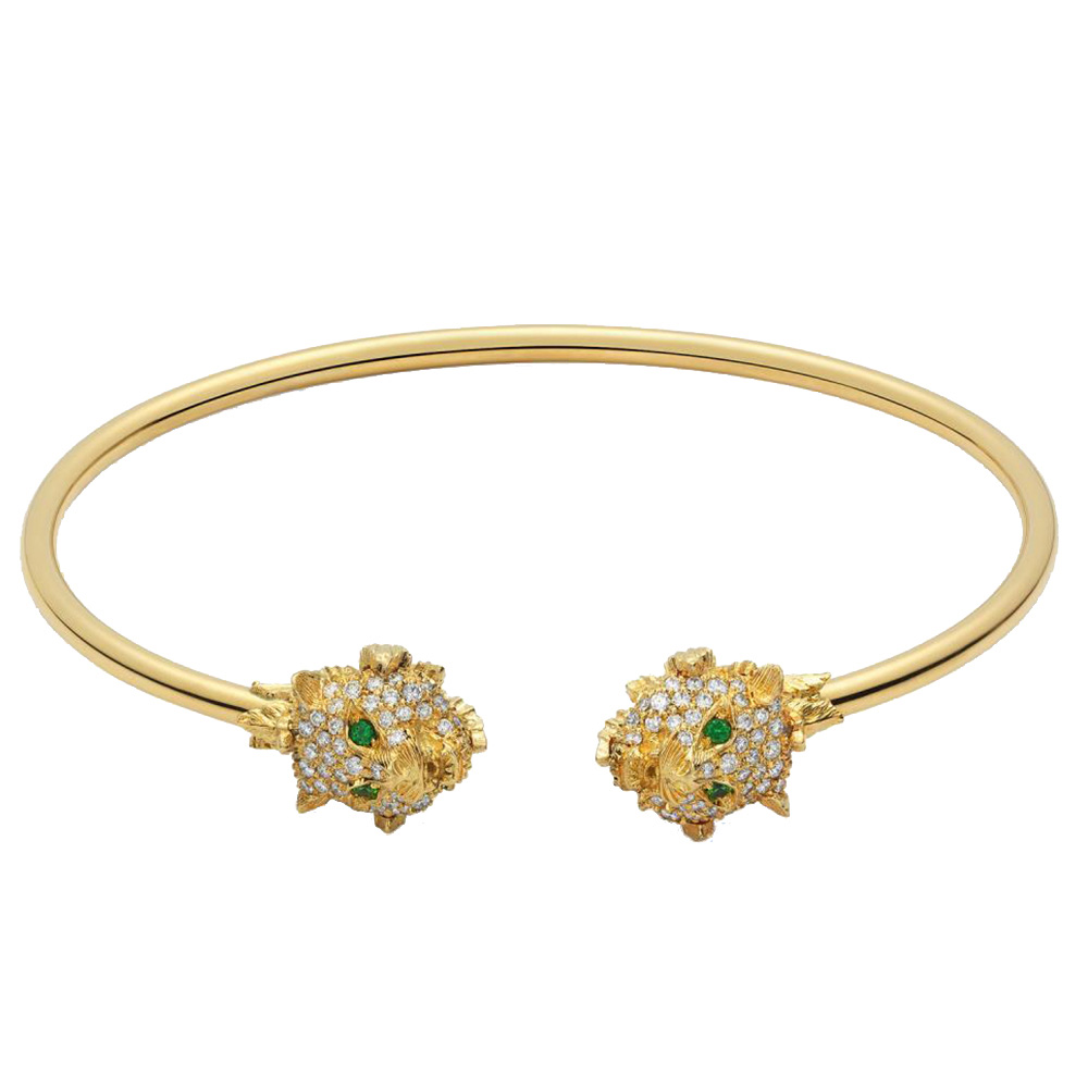 Золотой браслет-кафф GucciLe Marche des Merveilles с кошачьими головами в бриллиантах
