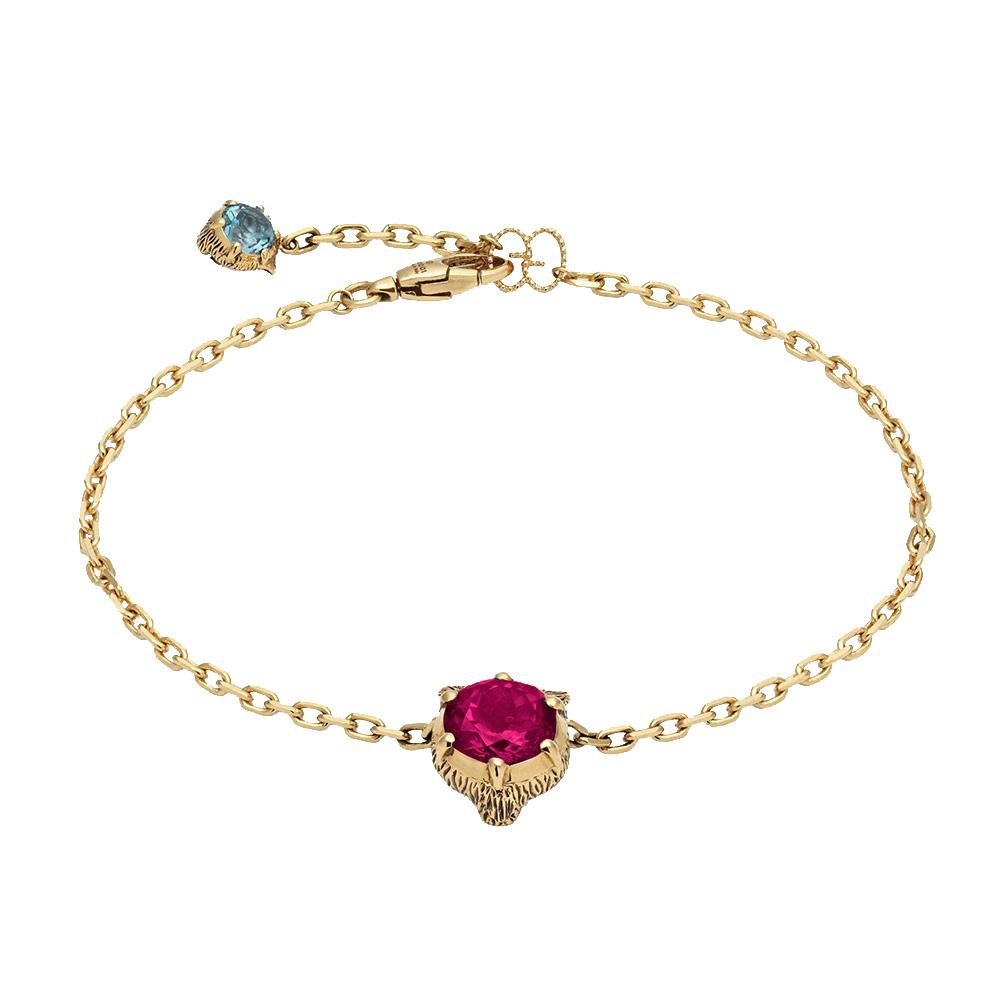 Золотой браслет Gucci Le Marche des Merveilles с подвеской и розовым турмалином