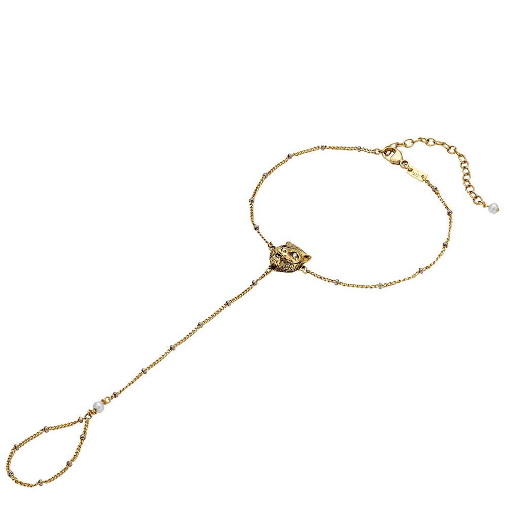 Золотой слейв-браслет Gucci Le Marche des Merveilles с бриллиантами и жемчугом