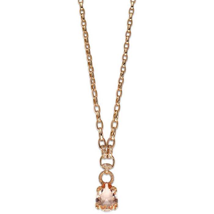 Колье из розового золота Gucci Horsebit с бриллиантами и морганитом