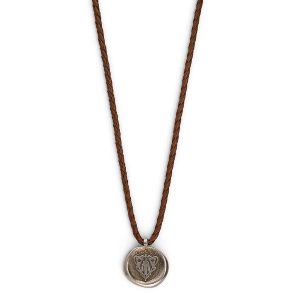 Подвеска Gucci из серебра Crest brown leather cord