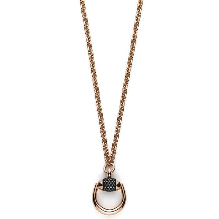 Колье из розового золота Gucci Horsebit с черными бриллиантами