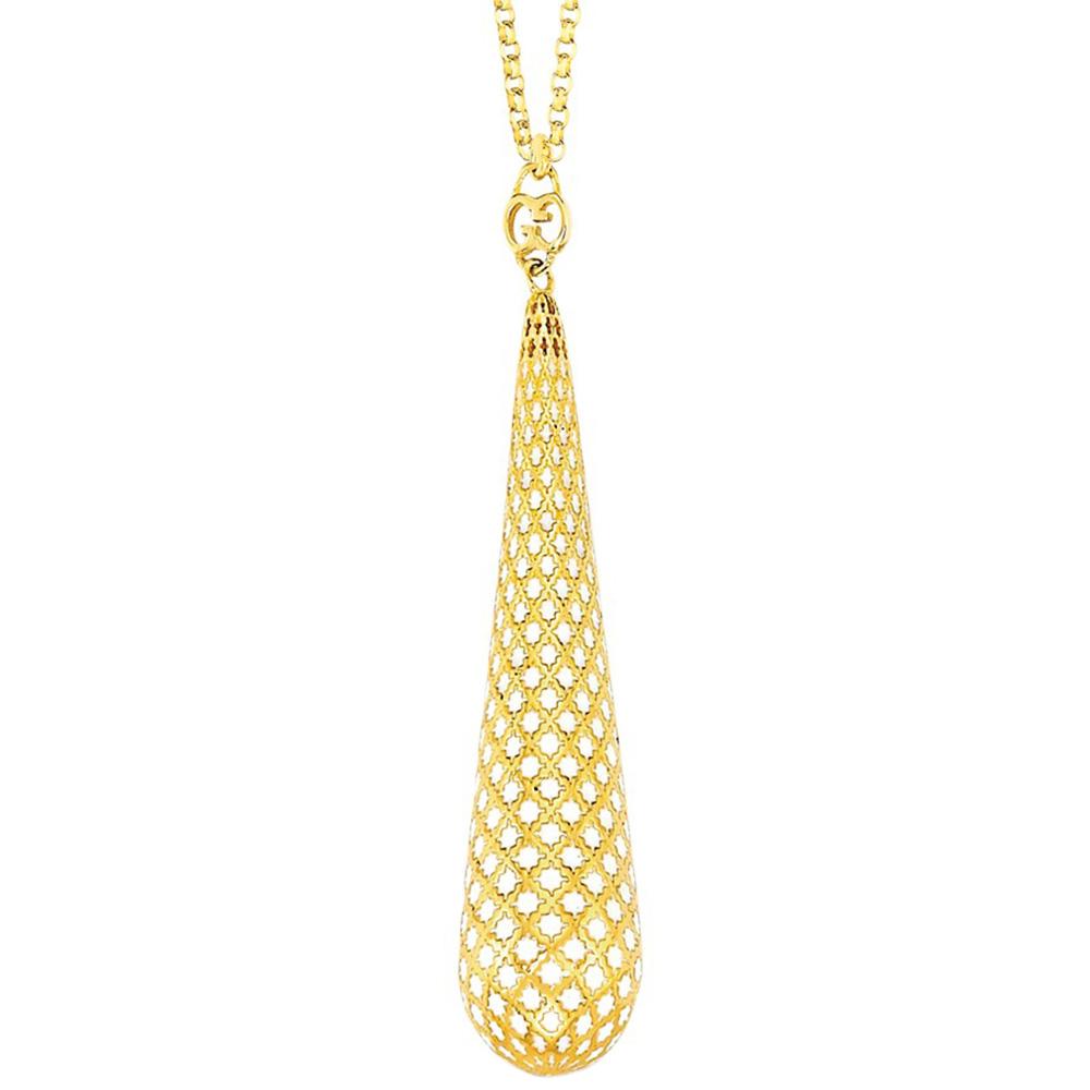 Ожерелье Gucci Diamantissima из желтого золота и белой эмали с перфорацией