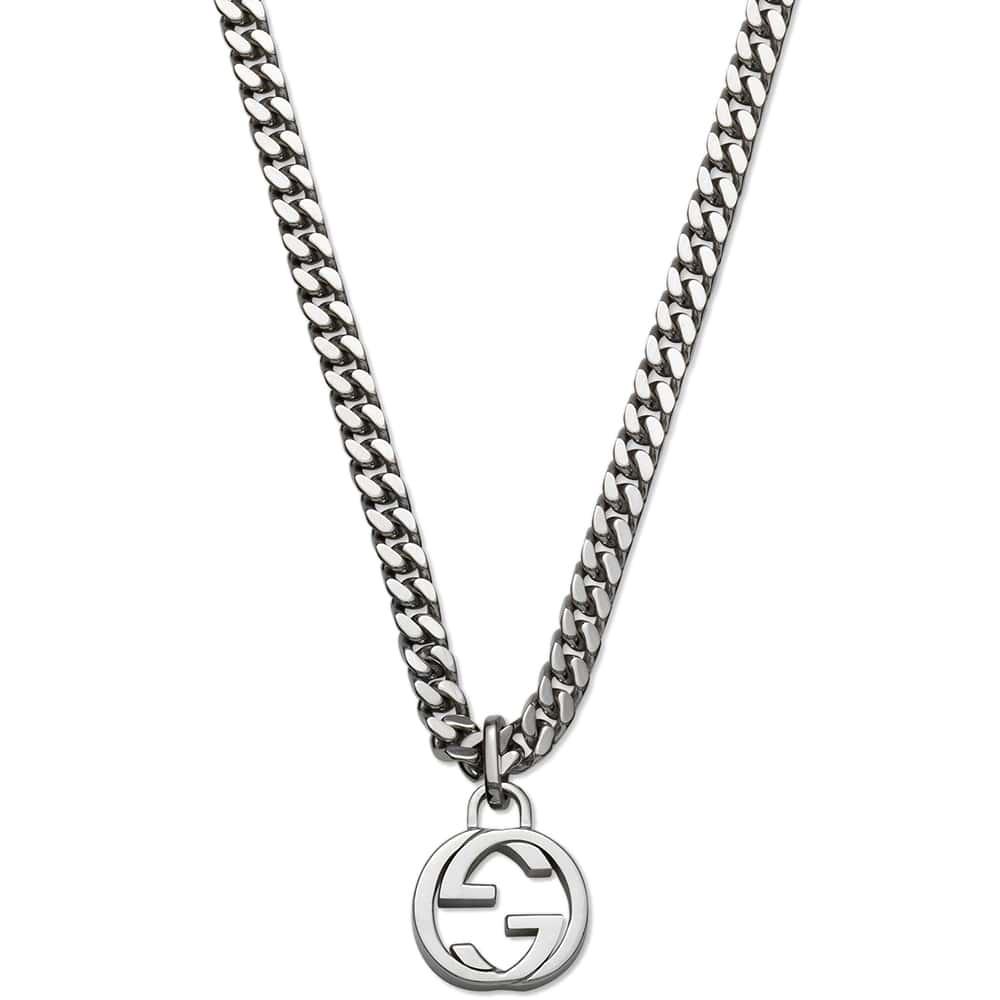 Серебряный кулон Gucci Running G с фирменным логотипом на толстой цепочке