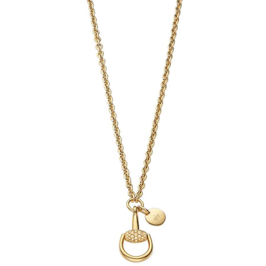 Цепочка с подвеской Gucci Horsebit из желтого золота с белыми и коричневыми бриллиантами