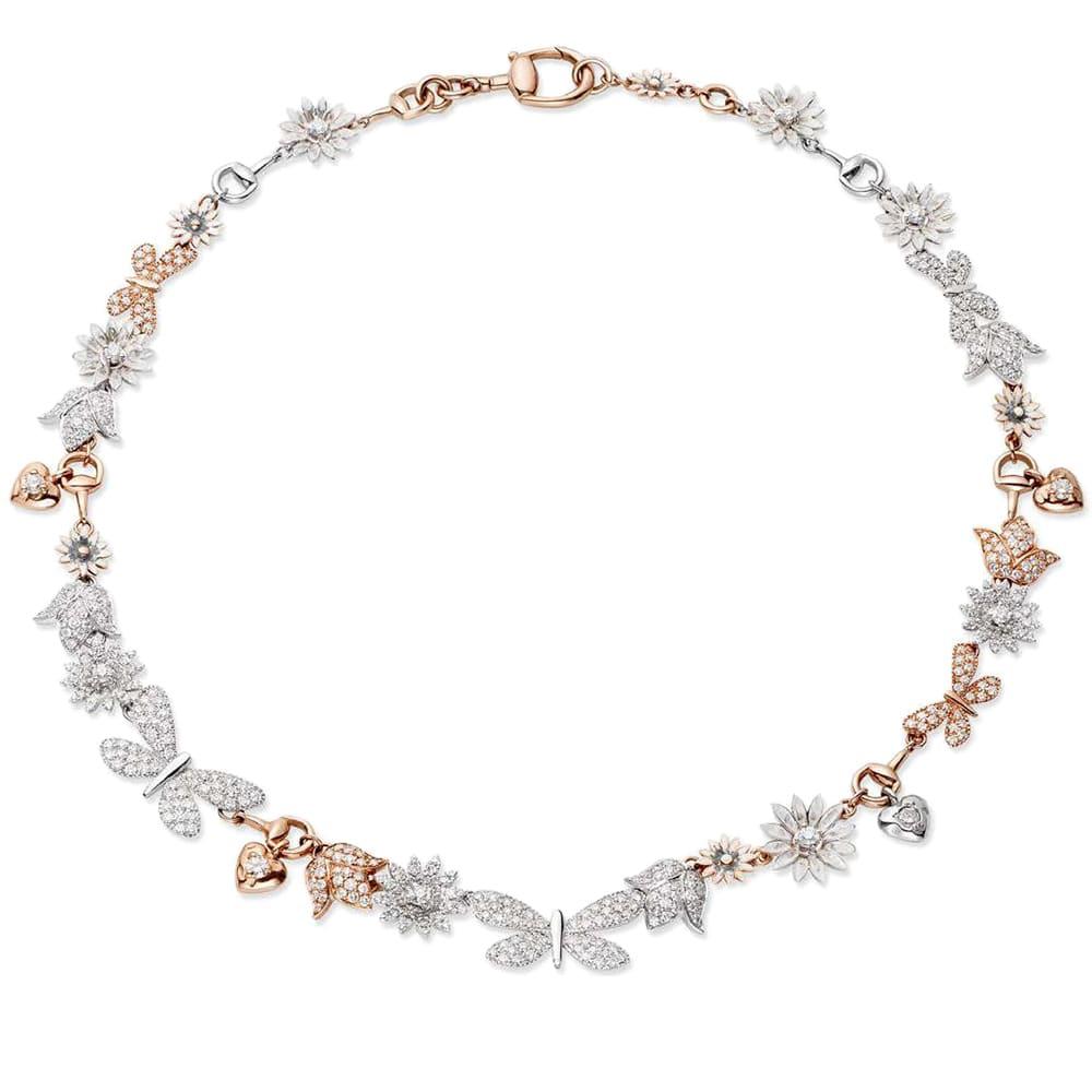 Ожерелье Gucci Flora из белого и розового золота с бриллиантами