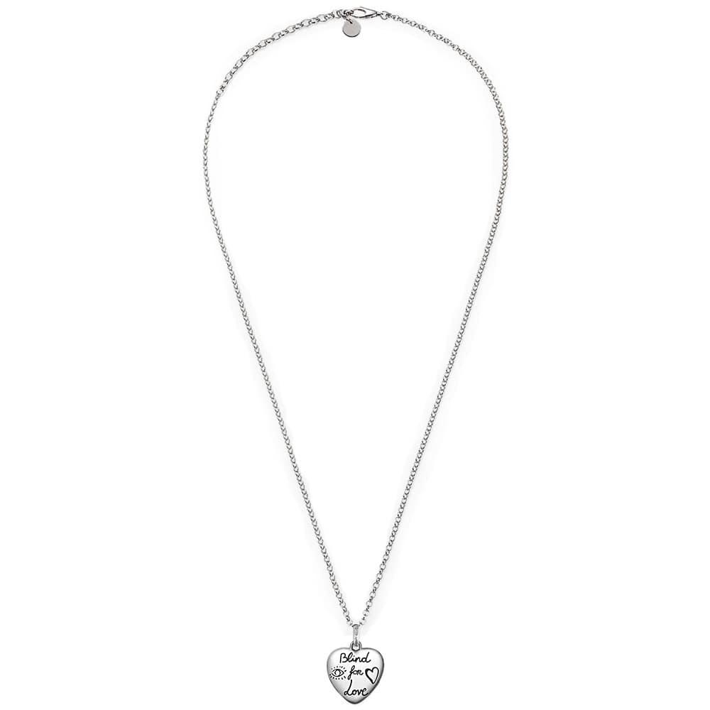 Кулон на цепочке Gucci Blind for love из серебра с двухсторонней гравировкой