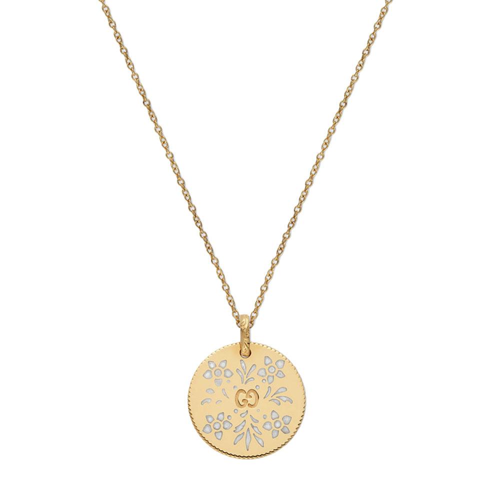 Ожерелье Gucci Icon из желтого золота с белым  цветочным принтом