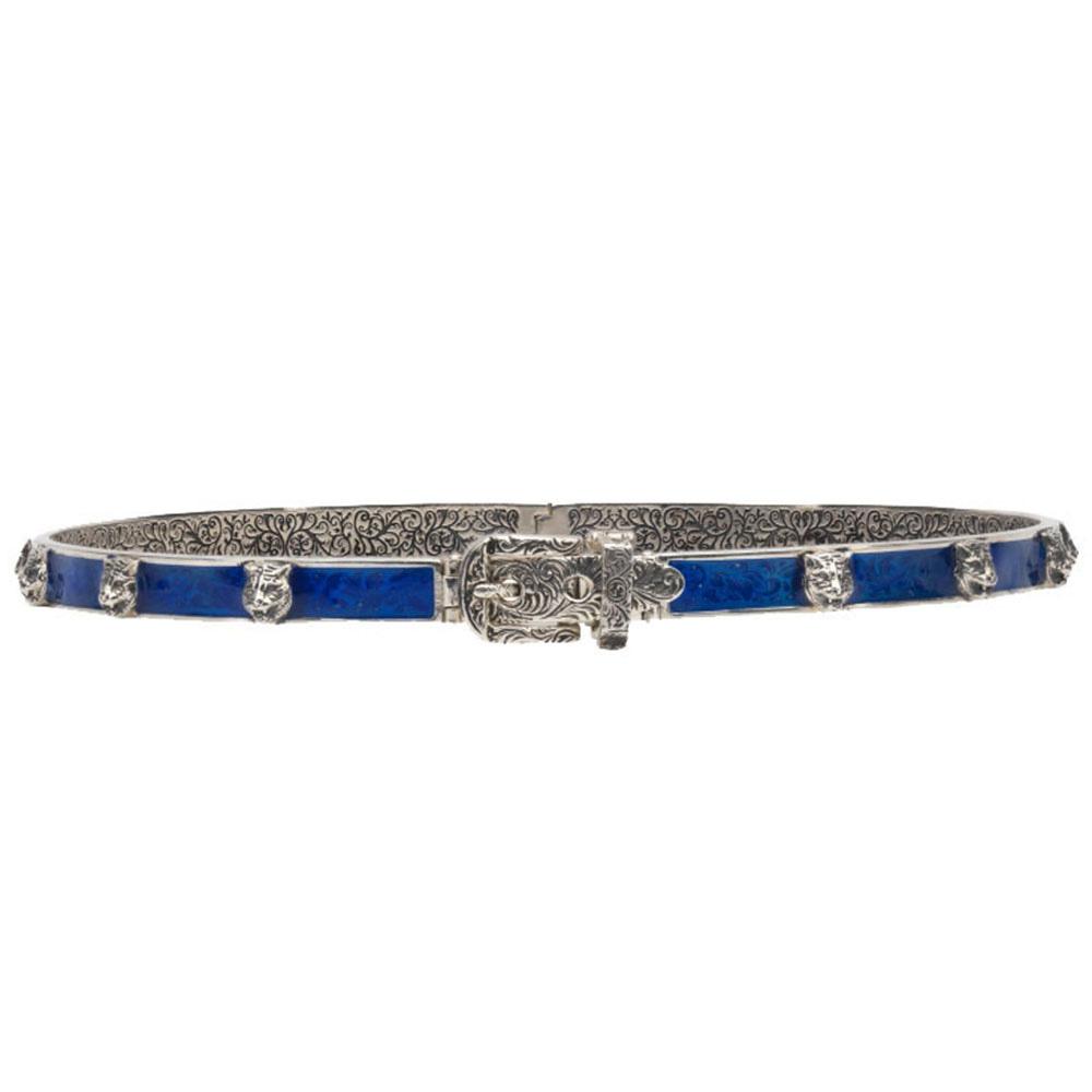 Серебряный браслет Gucci Garden с кошачьими головами и синей эмалевой пряжкой