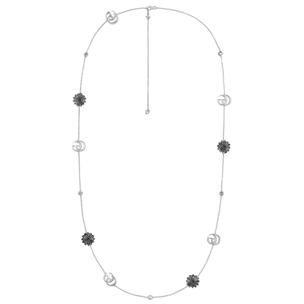 Ожерелье Gucci GG Marmont с композицией из ромашек и драгоценных камней