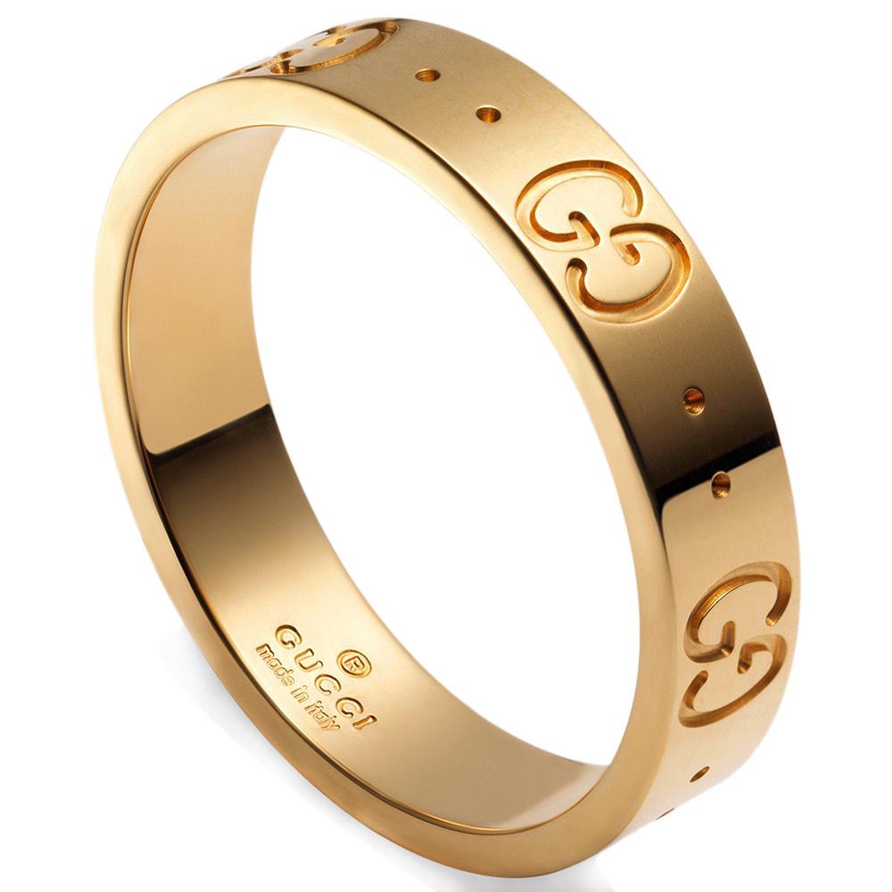 Женское кольцо Gucci Icon из полированного золота с фирменным тиснением