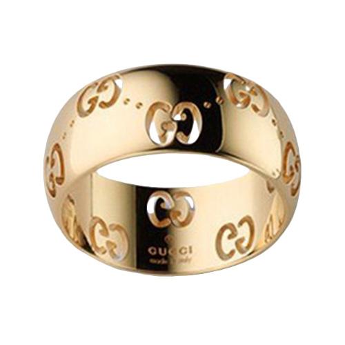 Широкое кольцо Gucci Icon из желтого золота с фирменным тиснением