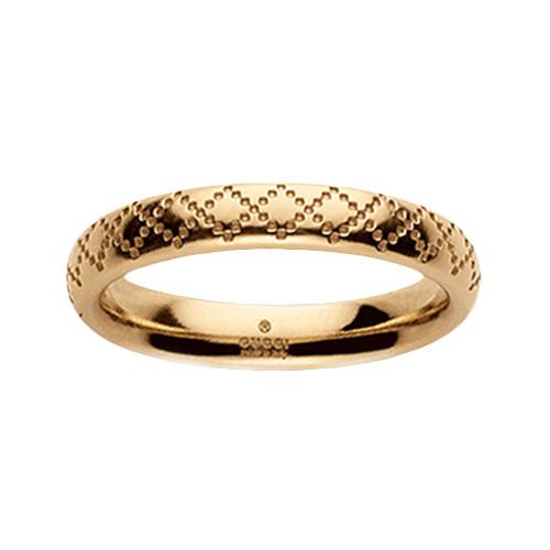 Тонкое кольцо Gucci Diamantissima из желтого золота с узором