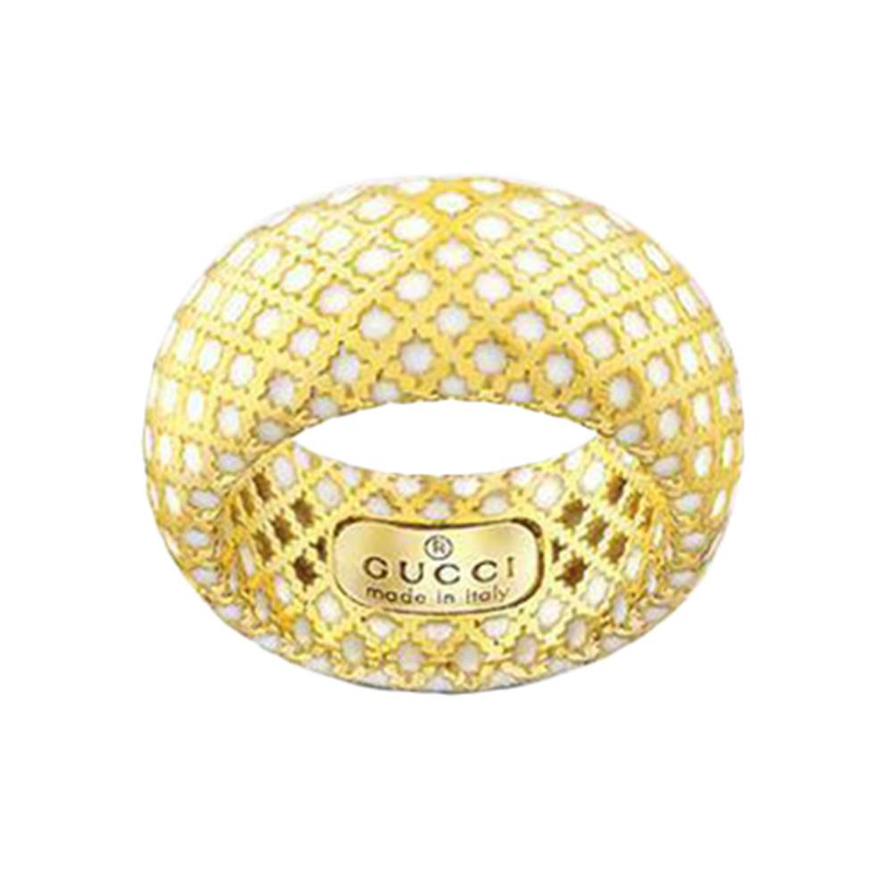 Широкое кольцо Gucci Diamantissima из желтого золота и белой эмали