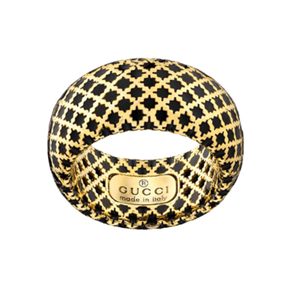 Широкое кольцо Gucci Diamantissima из желтого золота и черной эмали
