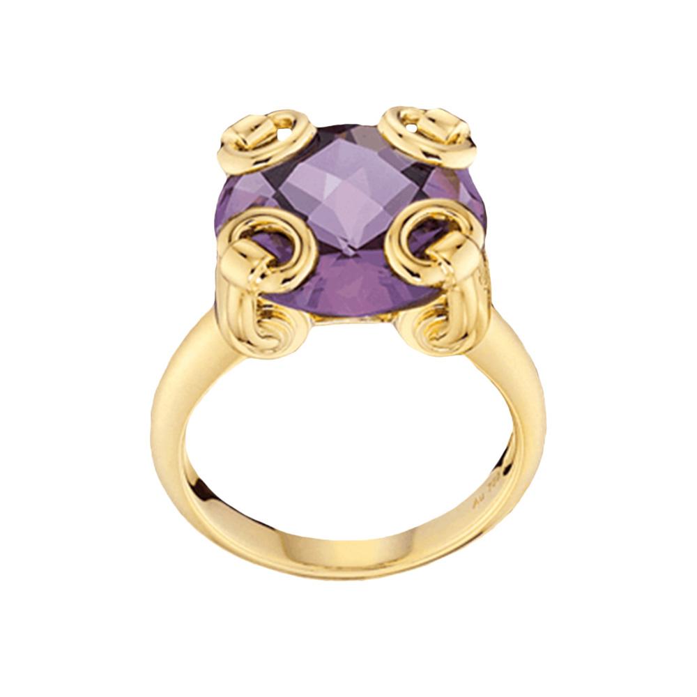 Золотое кольцо Gucci Horsebit с крупным фиолетовым аметистом