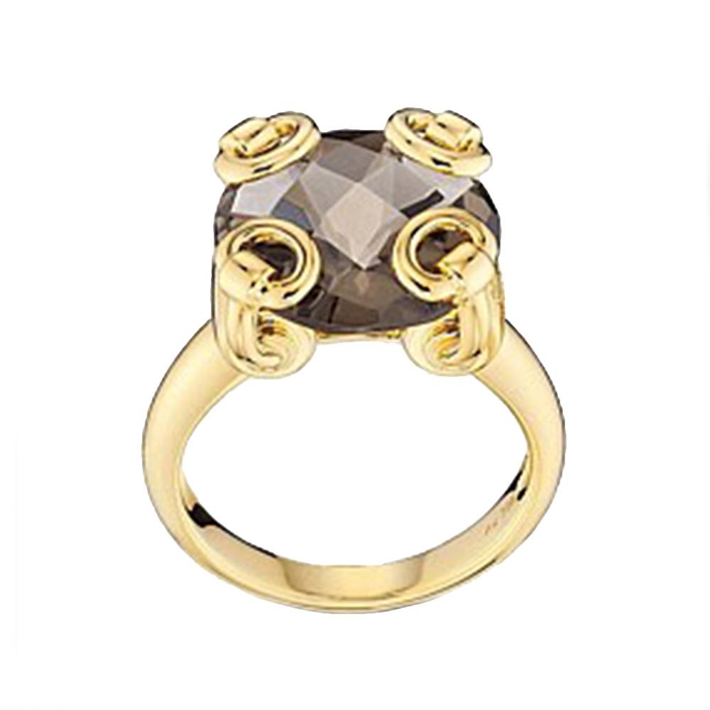 Золотое кольцо Gucci Horsebit с крупным дымчатым кварцом