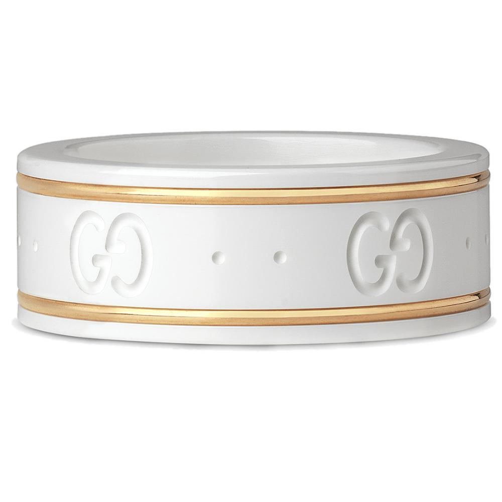 Белое кольцо Gucci Icon из циркония с золотым кантом и тиснением