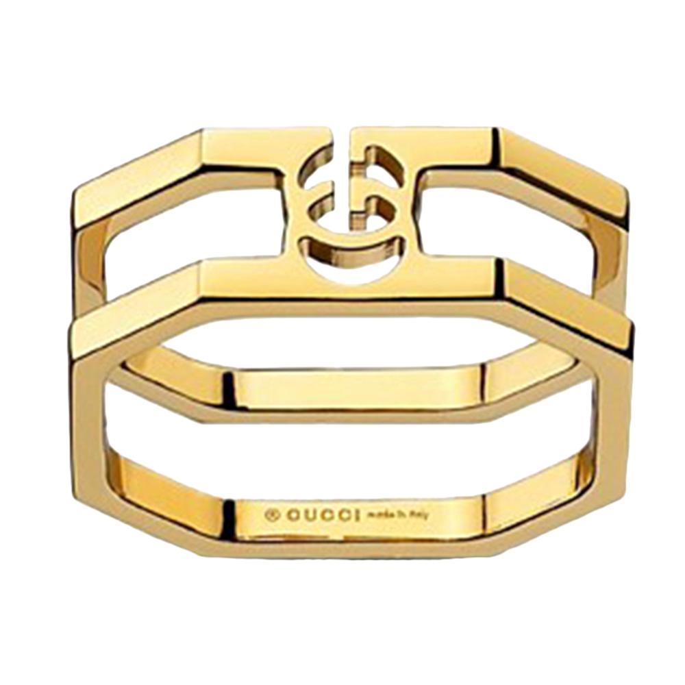 Золотое кольцо Gucci Running G в форме восьмиугольника