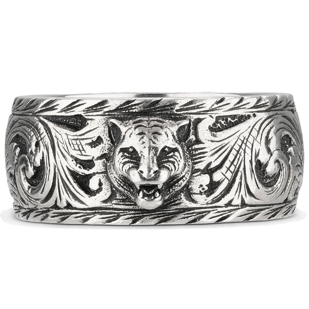 Широкое кольцо Gucci Feline head из состаренного серебра с котом