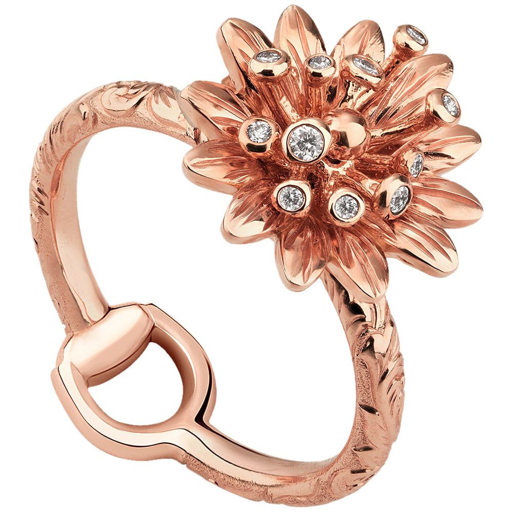 Тонкое кольцо Gucci Flora из розового золота с гравировкой и бриллиантами на цветке