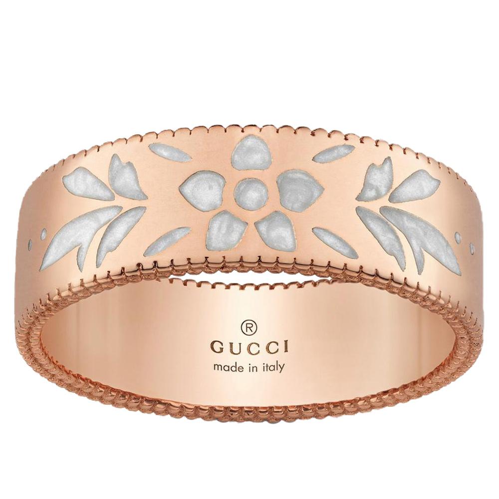 Широкое кольцо Gucci Icon из розового золота с тиснением и узором из эмали