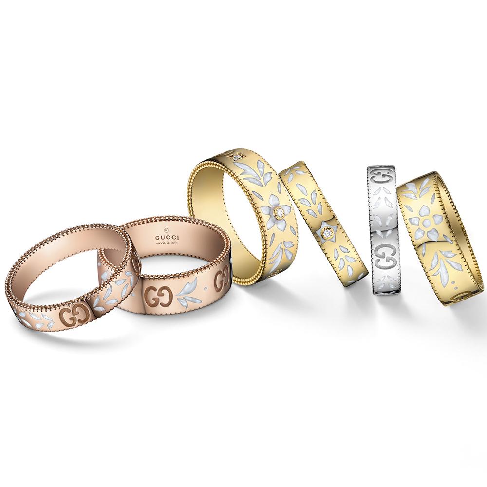 Женское кольцо Gucci Icon из розового золота с тиснением и узором из эмали