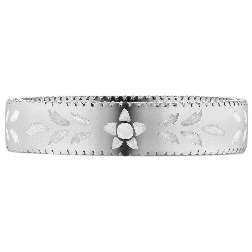 Женское кольцо Gucci Icon из белого золота с тиснением и узором из эмали