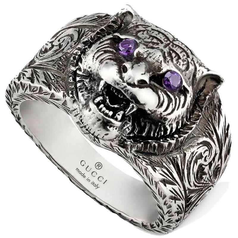 Серебряное кольцо Gucci Garden с фиолетовыми фианитами