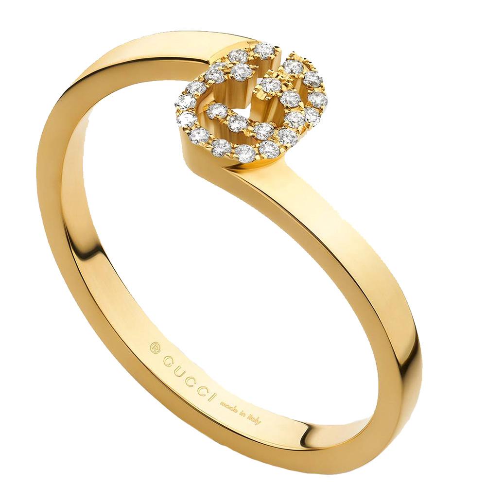 Кольцо из желтого золота Gucci Running G с логотипом в бриллиантах