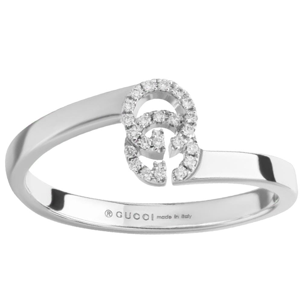 Тонкое кольцо Gucci Running G с логотипом в бриллиантах