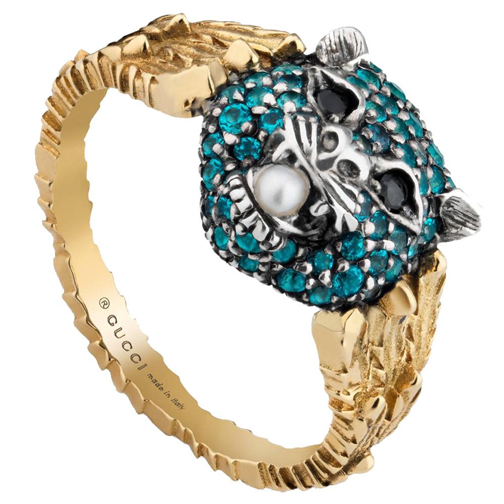 Золотое кольцо Gucci Le Marche des Merveilles с кошачьей головой и цветными камнями