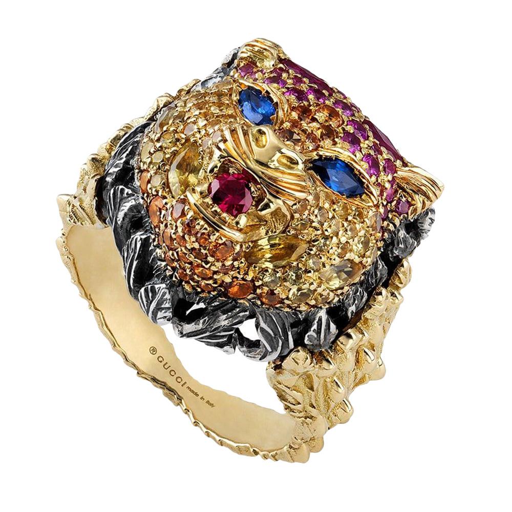 Широкое кольцо Gucci Le Marche des Merveilles в виде кошачьей головы из золота и серебра