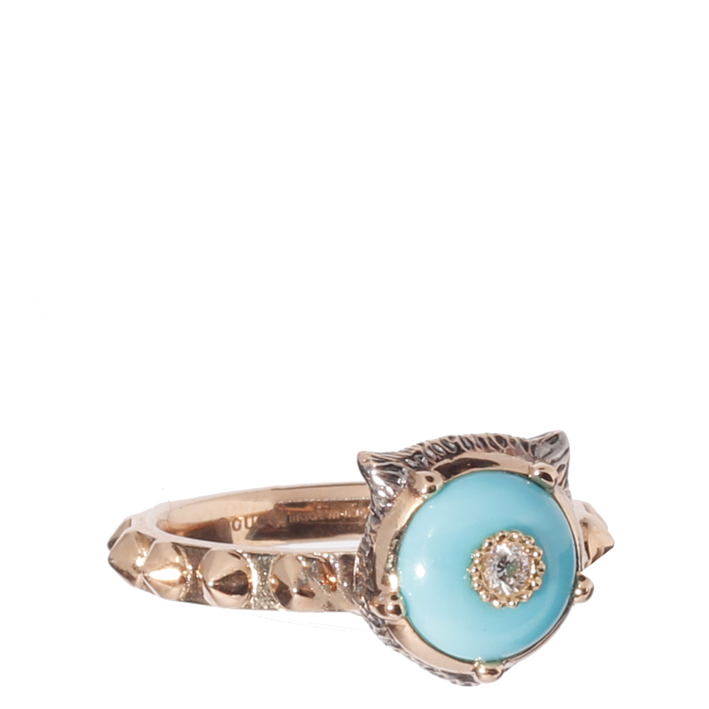 Золотое кольцо Gucci Le Marche des Merveilles с бриллиантами и бирюзой
