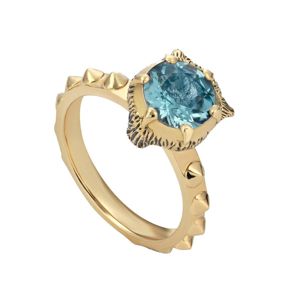 Золотое кольцо Gucci Le Marche des Merveilles с голубым аквамарином