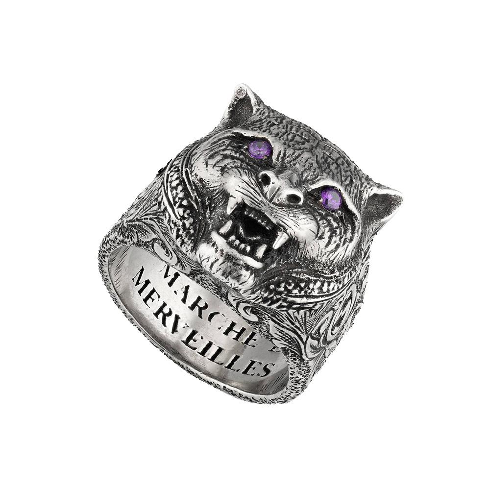 Серебряное кольцо Gucci Garden с кошачьей головой и внутренней гравировкой