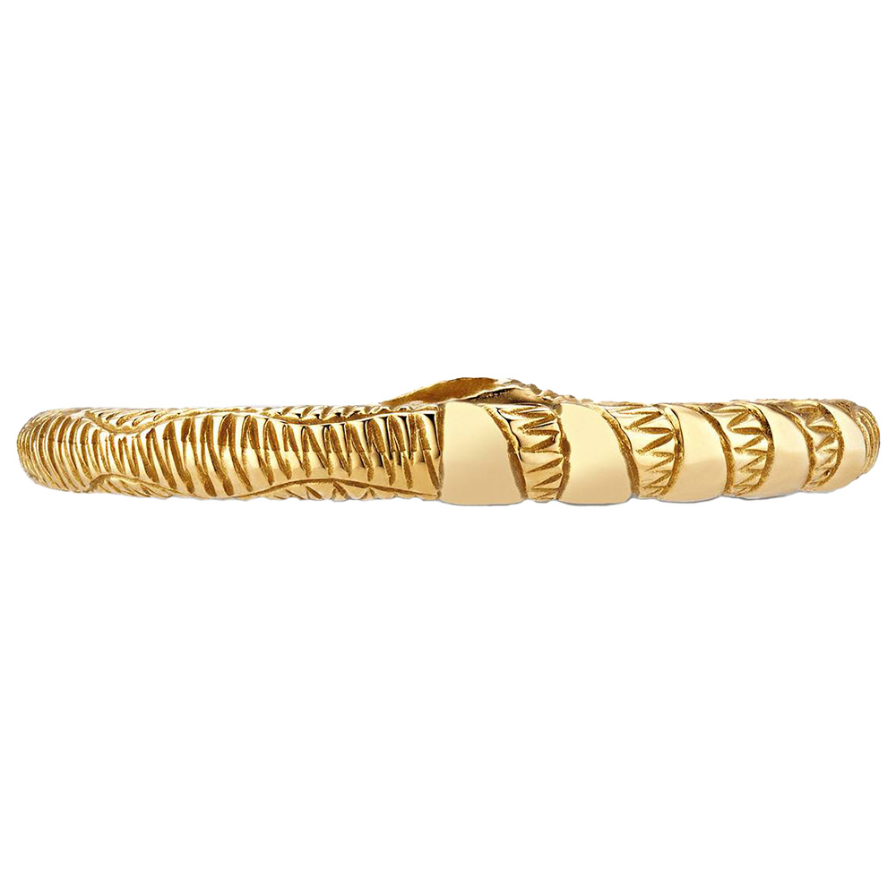 Тонкое золотое кольцо Gucci Ouroboro в виде змеи с бирюзовыми каменными глазами