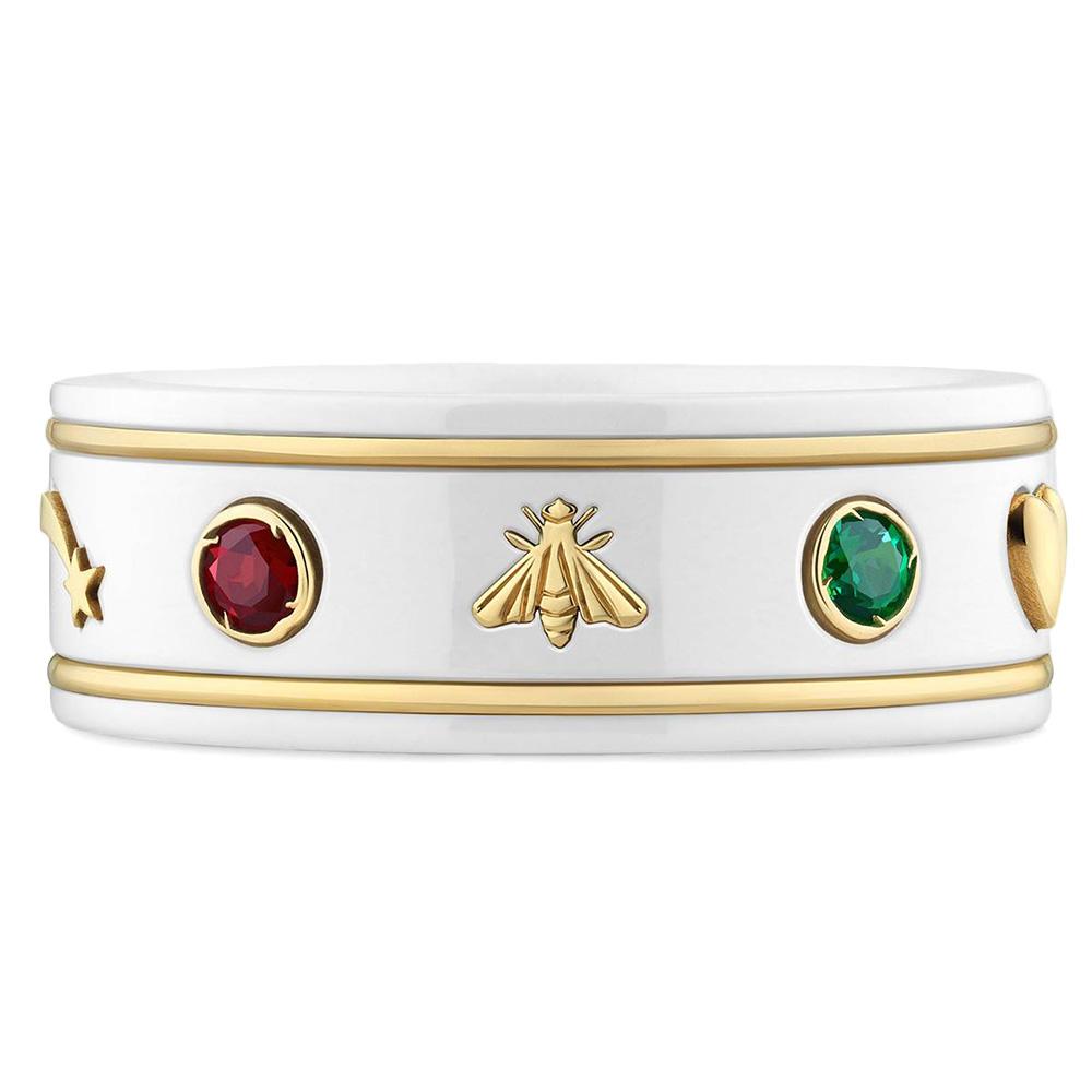 Широкое кольцо Gucci Icon с цветными топазами